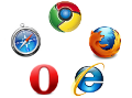 Logos Internet Explorer, Firefox, Chrome, Safari, Opéra