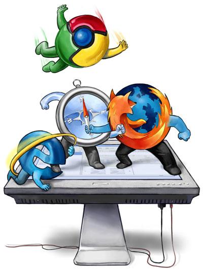 Les logos de Firefox, Chrome, Safari et Internet Explorer, habillés de bras et de jambes, se battent sur un écran d'ordinateur
