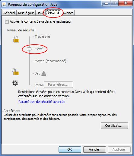 Le panneau de configuration de Java, ouvert sur l'onglet Sécurité, montre que le niveau de sécurité par défaut vient d'être passé à Élevé
