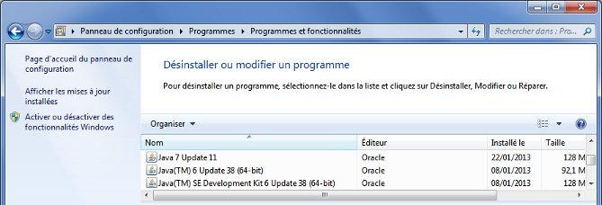 Panneau Windows de désinstallation des programmes, avec présence de multiples versions de Java