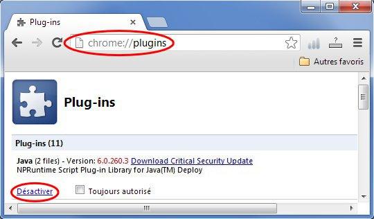 Accès par la barre d'adresse aux Plugins de Chrome et désactivation du/des module(s) Java
