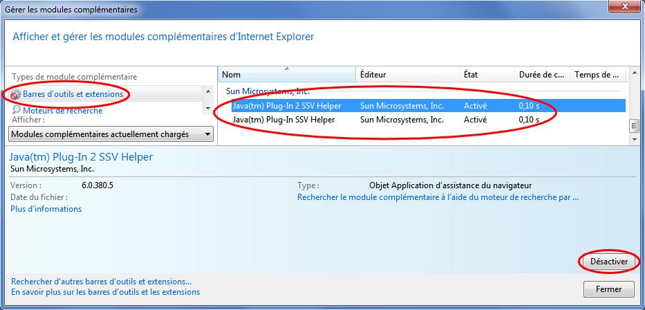 Depuis le panneau de gestion des modules complémentaires, sélectionner le groupe Barres d'outils et extensions, puis les modules Java à désactiver, cliquer Désactiver