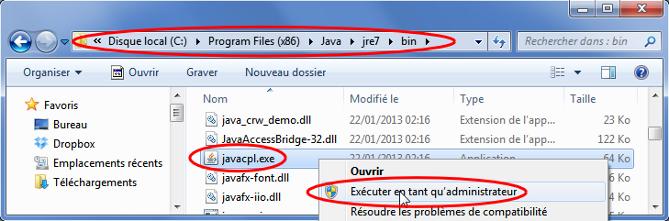 Schéma montrant le chemin d'accès au fichier javacpl.exe sous Windows Seven et comment l'exécuter en tant qu'administrateur