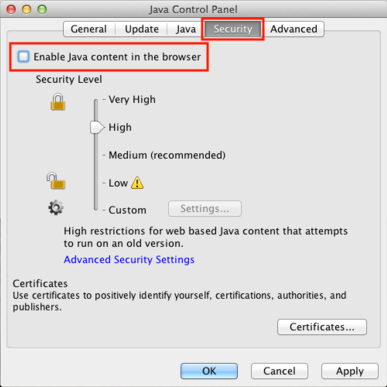 Une fois dans le panneau de contrôle de Java, choisir l'onglet Sécurité puis décocher l'option Java dans les navigateurs