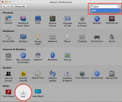 En tapant Java dans la barre de recherche du panneau des Préférences Système sous Mac OS X on cible le module recherché