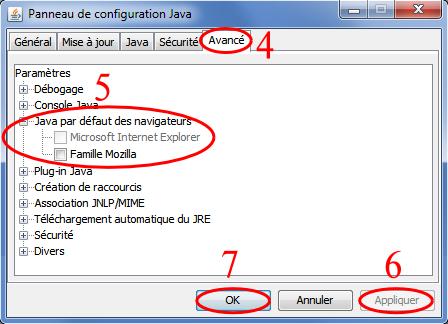 Les étapes 4 à 7 pour désactiver Java 6 pour les navigateurs sous Windows à partir du panneau de configuration onglet avancé de Java
