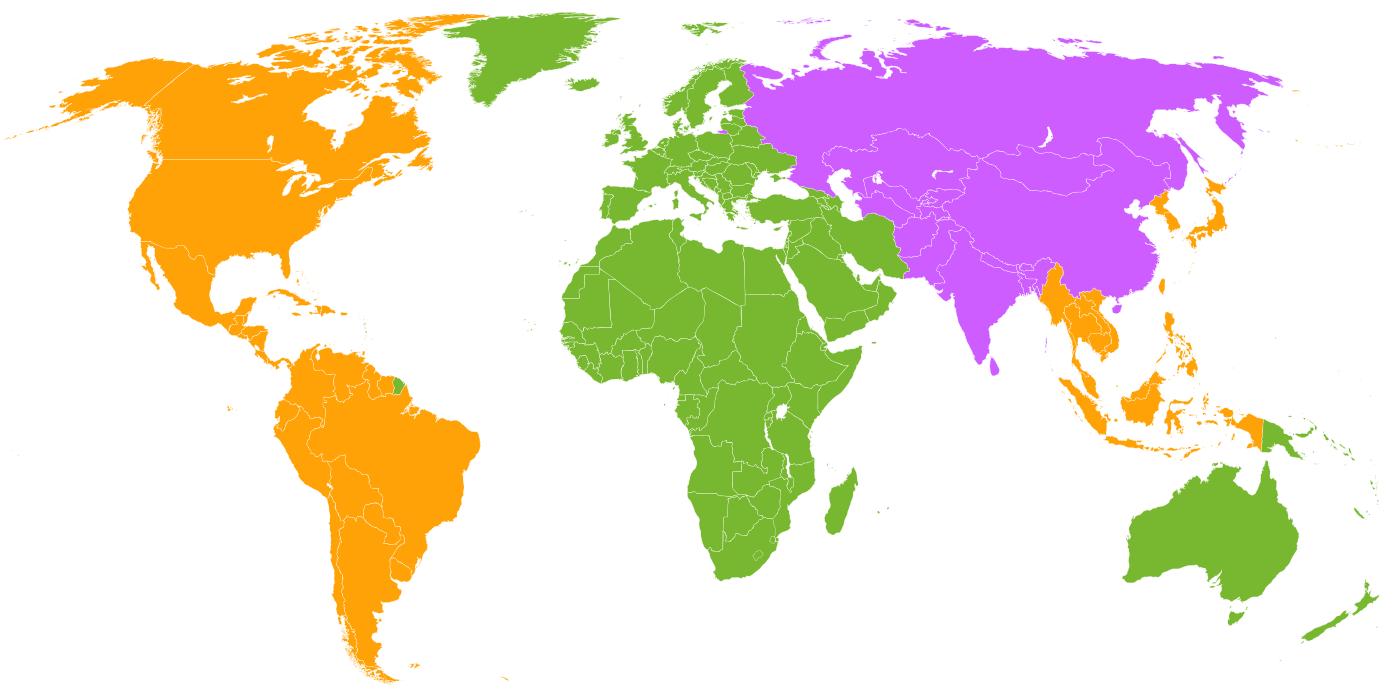Pour les Blu-ray les Majors découpent le Monde en 3 grandes zones, principalement Amériques, Europe Afrique Océanie, Asie centrale