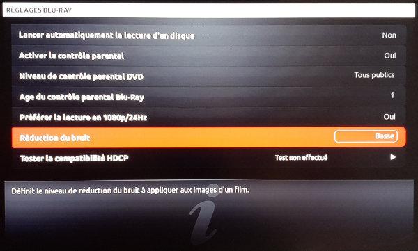 Les six menus classiques du panneau des réglages du lecteur Blu-ray de la Freebox Révolution