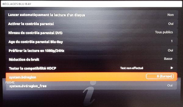 Les options system.bdregion et system.dvdregion_free s'ajoutent maintenant au menu des réglages Blu-ray