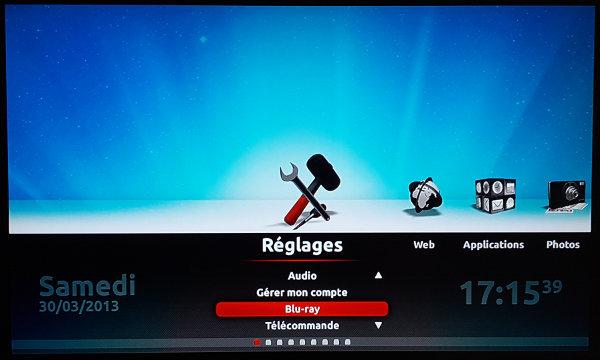 Affichage sur téléviseur du panneau des réglages du Player de la Freebox Révolution avec curseur sur la rubrique Blu-ray