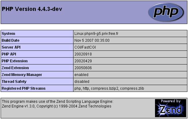 Le panneau d'identification de version PHP installée par défaut sur un serveur de Free pour les Pages Perso indique la version 4.4.3-dev