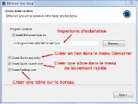 Le premier panneau de l'installation de BitTorrent Sync permet la sélection du répertoire d'installation du logiciel et le positionnement de raccourcis dans le menu Démarrer, la barre de lancement rapide et sur le bureau