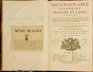 Page de garde du Tome 1 du Dictionnaire de Trévoux