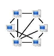 Un réseau pair à pair typique, où certains ordinateurs sont connectés entre eux et d'autres pas