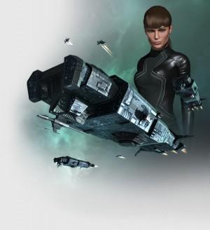 Un vaisseau et son pilote féminin prêts à prendre leur envol dans l'univers de EVE Online