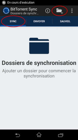 Page d'accueil onglet synchronisation de BitTorent Sync