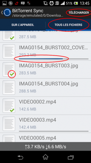 Onglet Tous les fichiers pour forcer l'upload de fichiers dans BitTorent Sync