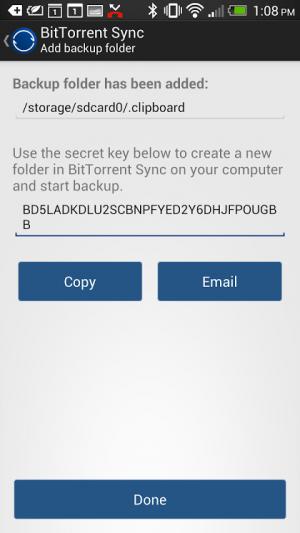 Sous Android, la clef secrète peut être copiée, envoyée par mail ou SMS