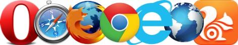Les logos des 7 navigateurs Internet les plus populaires Opera, Safari, Firefox, Chrome, Internet Explorer, Android Webkit, UC Browser